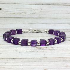 Amethyst February Birthstone, Birthday Bracelet, Purple Gemstone Bracelet #amethyst #purplestone #gemstone #February #birthdaygift #quartz #sterlingsilver #dearelizabeth