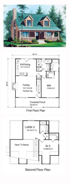 COOL House Plan ID: chp-16146 | Total Living Area: 1339 sq. ft., 3 bedrooms and 2.5 bathrooms. #cabinplan