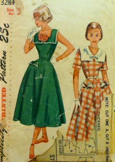 Vintage 50s Simplicity 3284 by VintageNeedleFinds on Etsy,