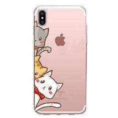 Capinha Para Apple iPhone X iPhone 8 iPhone 8 Plus Transparente Estampada Capa Traseira Gato Macia TPU para iPhone X iPhone 8 Plus iPhone