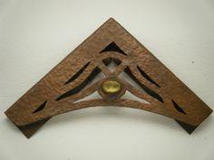 Antique Arts & Crafts Mission Era Hand Hammered Copper Desk Blotter Corner Ends