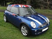 2005 BMW MINI COOPER CHILI PACK HYPER BLUE UNION JACK ROOF AND MIRRORS