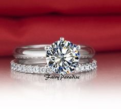 2 pcs 3 ct Round Brilliant Cut man made diamond Solitaire Engagement Ring + 0.55 ct