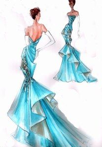 Great design. Love the back withruffles. TG              Sketch by Blanka Matragi