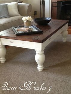 Yard Sale Coffee Table REDO- another one of my friend's refinish jobs. So talented! LOVE IT!