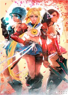 .sailor mercury, moon and mars by ross draws