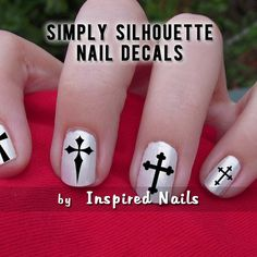 Cross Crucifix Decals Black and Clear Simply by InspiredNails, £2.94