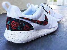 Custom Nike Roshe Run Rose design, floral custom roshe, Rose Gold design, Red Roses with teal leaves and gold speckles, Custom roshe run roses