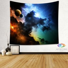 Galaxy Tapestry, Multicolor deep space nebula wall tapestry, Planets in space Galaxy tapestry wall hanging, Stars galaxy wall tapestries, Galaxy home decor, Space wall art print, Space wall hanging, Planets in deep space nebula paint galaxy wall art