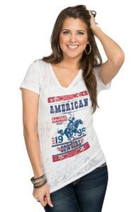 Cowgirl Hardware Women's White Burnout American Cowgirl Poster Short Sleeve Tee   Cavender's