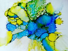 Alcohol ink on plastic. Art work by Susan Lucas.