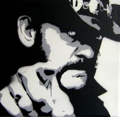 """""""If you think you're to old for Rock'n Roll then you are!""""  Lemmy - stencil on canvas, 35 Euro - Keywords: Lemmy Kilmister, Motörhead, Rickenbecker, Singer, Rock'n Roll, Band"""