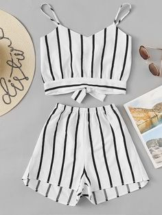 Striped Random Split Bow Tie Back Cami Top With Shorts – Mode für Frauen Cute Comfy Outfits, Cute Outfits For School, Cute Summer Outfits, Teenage Girl Outfits, Outfits For Teens, Trendy Outfits, Boho Fashion Summer, Summer Fashion Outfits, 2 Piece Outfits