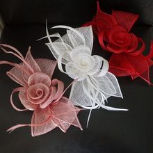 Ivory Mini Fascinator Wedding Hat Bowler Brand Sinamay Flower Hair Clip Bridal Dress Prom Cocktail Hair Accessories For Women(China (Mainland))