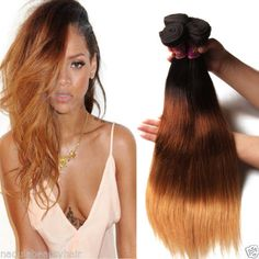 Brazilian-Ombre-Three-Tone-Straight-Hair-100g-100-Virgin-Human-Hair-Extensions