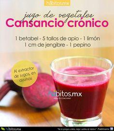 Para combatir el cansancio crónico: Betabel + Apio + Limón + jengibre + pepino en ayunas.