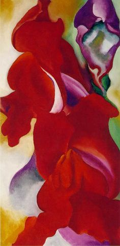 "Red Snapdragons. Georgia O'Keeffe, 1923.  Am I the only person who thinks it's a great idea to put up prints of great art in your kids room and not just ""kid stuff""? Won't the colors and shapes be stimulating? Could it lead to a greater appreciation for and creativity with artistic endeavors? Who knows. I'm going to find out."