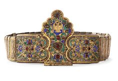 An early 19th Century enameled and gilt-metal buckle in gilded bronze. From Greece