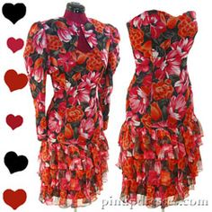 PinupDresses.com Vintage 80s Floral Chiffon Tiered Dress Jacket Set M #Vintage #Dress
