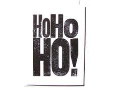 CARD Ho Ho Ho Christmas LINOCUT greeting by thebigharumph