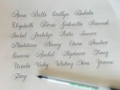 Cursive names using