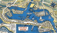 Balboa Motel postcard, circa 1950