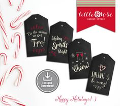 Printable Christmas Gift Tags - Holiday Wine Tags - Gift and Spirit Tags - Gift Labels - Favor Tags - Instant Download