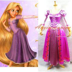 Free Shipping Disney Tangled Rapunzel Princess Dress Movie Cosplay Costume…
