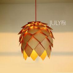 JULY就来设计师款 现代实木原木松果吊灯-木头版20cm