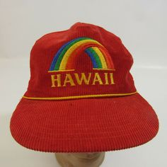 af036386cc6 Vtg Hawaii Rainbow Embroidered Adjustable Hat Snapback Trucker Cap Corduroy  Mesh  HawaiianHeadwear  BaseballCap