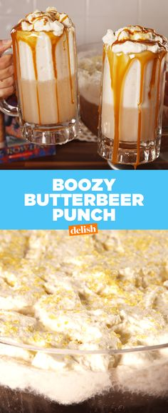 Our Boozy Butterbeer Punch will make any muggle feel like a wizard. Get the recipe at Delish.com.
