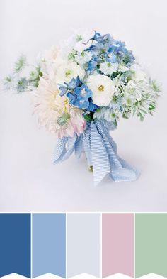 Cornflower Blue and Seersucker Summer Wedding Bouquet   www.onefabday.com