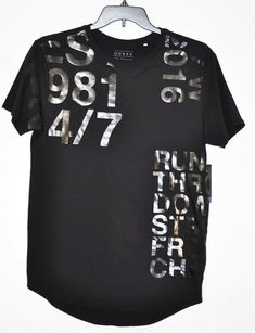 30cc1a19 GUESS Tee Military Long Line Short Sleeve Black Men's size S NWT #GUESS  #GraphicTee