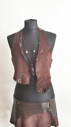 Asymmetrical leather vest by lucidMotion