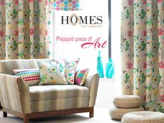 Give your #Home a blend of #Serenity and soothing #Floral #Designs. Explore more on www.homesfurnishings.com #HomeFabrics #Cushions #Upholstery #Curtains #Furnishings #FineFabric #HomesFurnishings