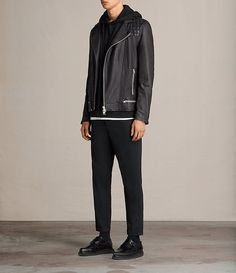 Men's Conroy Leather Biker Jacket (INK NAVY) - Image 3
