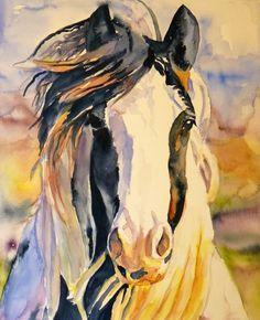 Watercolor paint horse