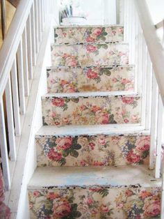 Old wall paper on stair risers