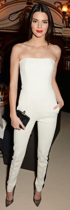 White Bandeau Cocktail Jumpsuit # #Kendall Jenner