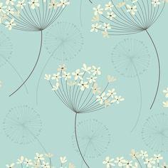 I Love Wallpaper Capri Wallpaper Teal/Cream Dandelion Wallpaper, Teal Wallpaper, Pattern Wallpaper, Wallpaper Ideas, Latest Wallpaper Designs, Teal Flowers, Designer Wallpaper, Antique Photos, Watercolor Flowers