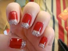 Silver and red French tips