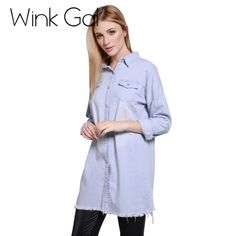 Wink Gal Spring Denim Coat Outerwear Frayed Long Denim Jacket Trench Coat For Women W1895