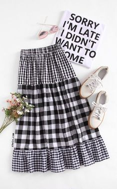 hippie outfits 148829962671282268 - Tiered Mixed Gingham Skirt Source by Hippie Outfits, Teen Fashion Outfits, Modest Fashion, Women's Fashion Dresses, Girl Fashion, Fashion Tips, Stylish Dresses For Girls, Dresses For Teens, Blouse And Skirt