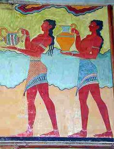 Males shown in procession in a wall fresco at Knossos  The Cup-Bearer fresco from the South Propylaea at Knossos. The males shown wear brightly embroidered loin-cloths with gold and silver belts, silver anklets and bracelets