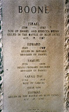 Israel Boone, son of Daniel and Rebecca Bryan Boone killed in the Battle of Blue Licks . Us History, History Facts, Family History, History Education, Teaching History, Unusual Headstones, Sarah Day, Famous Tombstones, Retirement Decorations