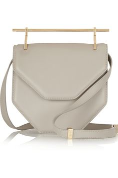 Light-gray leather (Calf) Concealed snap-fastening front flap Comes with dust bag