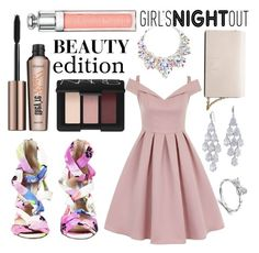 """Girl's Night Out: Beauty Edition"" by minchu ❤ liked on Polyvore featuring MaBelle, Jimmy Choo, NARS Cosmetics, Benefit, Christian Dior, Chi Chi, Calvin Klein, Carolee, women's clothing and women"