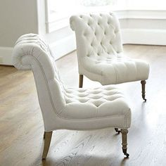 This low-slung, continental style Cecily Armless Chair slips effortlessly into places where larger, traditional armchairs just won& go. Tufted Chair, Armless Chair, Bedroom Chair, Upholstered Chairs, Papasan Chair, Sofa Chair, Master Bedroom, Dining Furniture, New Furniture