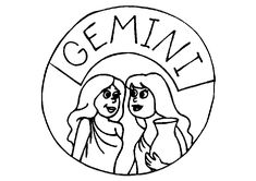 Gemini Zodiac Sign Coloring Page Space Coloring Pages, Mandala Coloring Pages, Coloring Pages For Kids, Zodiac Signs Colors, Zodiac Signs Aquarius, 12 Signs, Zodiac Constellations, Kids Coloring Pages, Coloring Pages For Boys