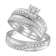 3e1c2e2e2 10kt White Gold His & Hers Round Diamond Solitaire Matching Bridal Wedding  Ring Band Set 1/3 Cttw